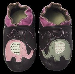 Rose et Chocolate Dievčenské topánočky so slonmi Classicz, hnedé, EUR 28/29