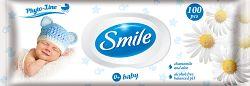 SMILE Vlhčené obrúsky Baby 0+ s výťažkom z harmančeka a aloe vera 100 ks s plastovým uzáverom