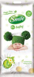 Smile Vlhčené obrúsky Baby 0+ s výťažkom z harmančeka a aloe vera 2x24 ks