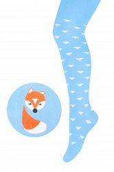 STEVEN Detské pančuchy s líškou - modré, 80-86 cm