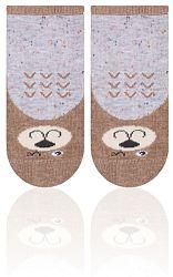 STEVEN Detské ponožky s medvedíkom - hnedo-šedé