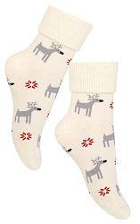 STEVEN Detské ponožky so sobmi - béžové