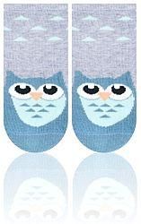 STEVEN Detské ponožky so sovou - sivé, 0-3 měsíce