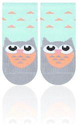 STEVEN Detské ponožky so sovou - zelené, 6-12 měsíců
