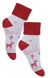 STEVEN Detské ponožky so zimným motívom - šedo-červené, 1-2 roky