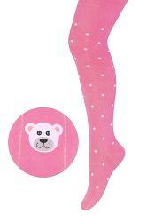 STEVEN Dievčenské pančucháče s medvedíkom - tmavo ružové, 68-74 cm