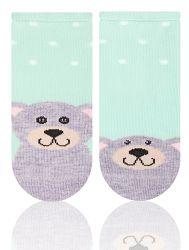 STEVEN Dievčenské ponožky s medvedíkom - zelené, 0-3 měsíce