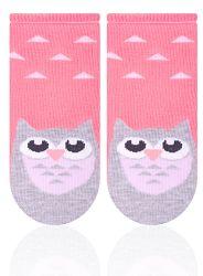 STEVEN Dievčenské ponožky so sovičkou - ružovošedé