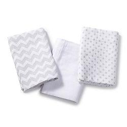 Summer Infant SwaddleMe mušelínová prikrývka 3ks - zig zag, biela, sivá bodka