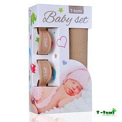 T-tomi Baby súprava - bambusová osuška béžová + kočíkovúý štipček béžový