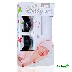 T-tomi Baby súprava- bambusová osuška biela + kočíkový štipček čierny