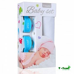 T-tomi Baby súprava - bambusová osuška biela + kočíkový štipček modrý