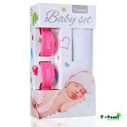 T-tomi Baby súprava - bambusová osuška biela + kočíkový štipček ružový