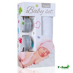 T-tomi Baby súprava- bambusová osuška biela + kočíkový štipček sivý