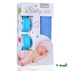 T-tomi Baby súprava - bambusová osuška modrá + kočíkový štipček modrý