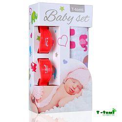 T-tomi Baby súprava - bambusová osuška ružové slony + kočíkový štipček červený
