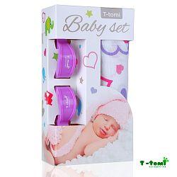 T-tomi Baby súprava - bambusová osuška srdiečka + kočíkový štipček fialový