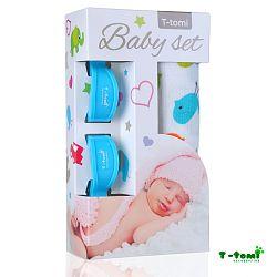 T-tomi Baby súprava- bambusová osuška vtáčiky + kočíkový štipček modrý