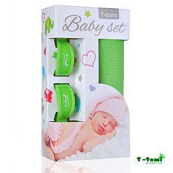 T-tomi Baby súprava - bambusová osuška zelená + kočíkový štipček zelený