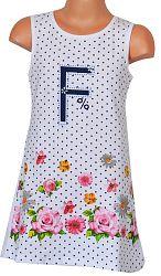Topo Dievčenské bodkované šaty s kvetmi - biele, 110 cm