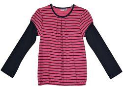 Topo Dievčenské prúžkované tričko - ružovo-čierne, 98 cm