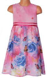 Topo Dievčenské šaty s ružičkami a motýliky - ružové, 98 cm