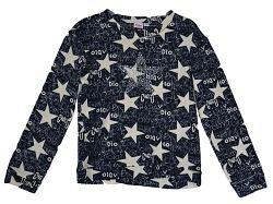 Topo Dievčenské úpletové tričko s hviezdičkami - modro-béžové, 134 cm