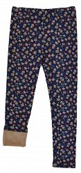 Topo Dievčenské zateplené legíny s kvietkami - farebné, 116 cm