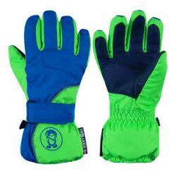Trollkids Chlapčenské lyžiarske rukavice Troll - zeleno-modré, 9-10 rokov
