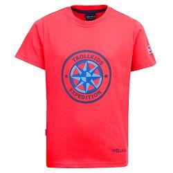 Trollkids Detské tričko Windrose s UV 30+ - červené, 98 cm