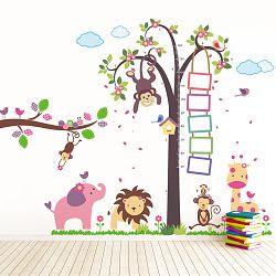 Walplus Samolepky na stenu Meter strom s opičkou / Zvieratká / Opička na vetve, 195x160 cm