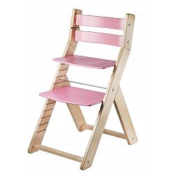 WOOD PARTNER Rastúca stolička MONY natur lak - ružová