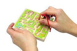 WOODY Minilabyrint s guľôčkou zelený / modrý / oranžový, súprava 12 ks