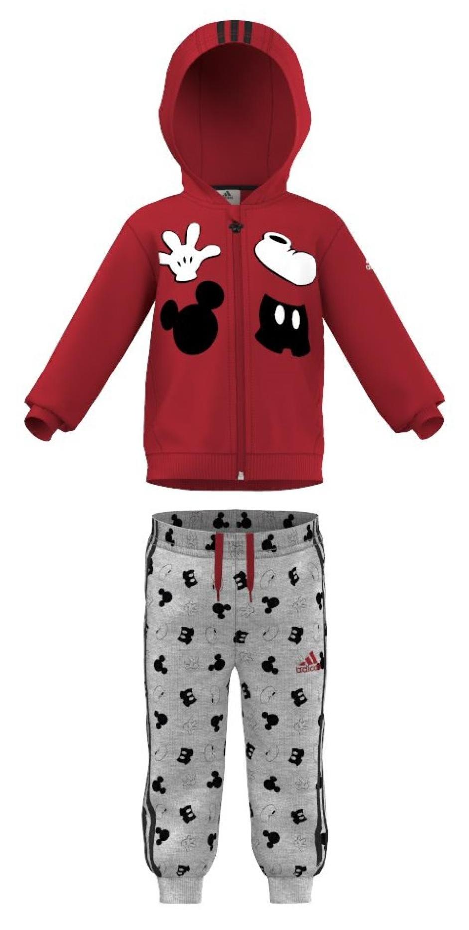 Adidas Detská tepláková súprava Mickey Mouse - červeno-šedá e46f4872f23