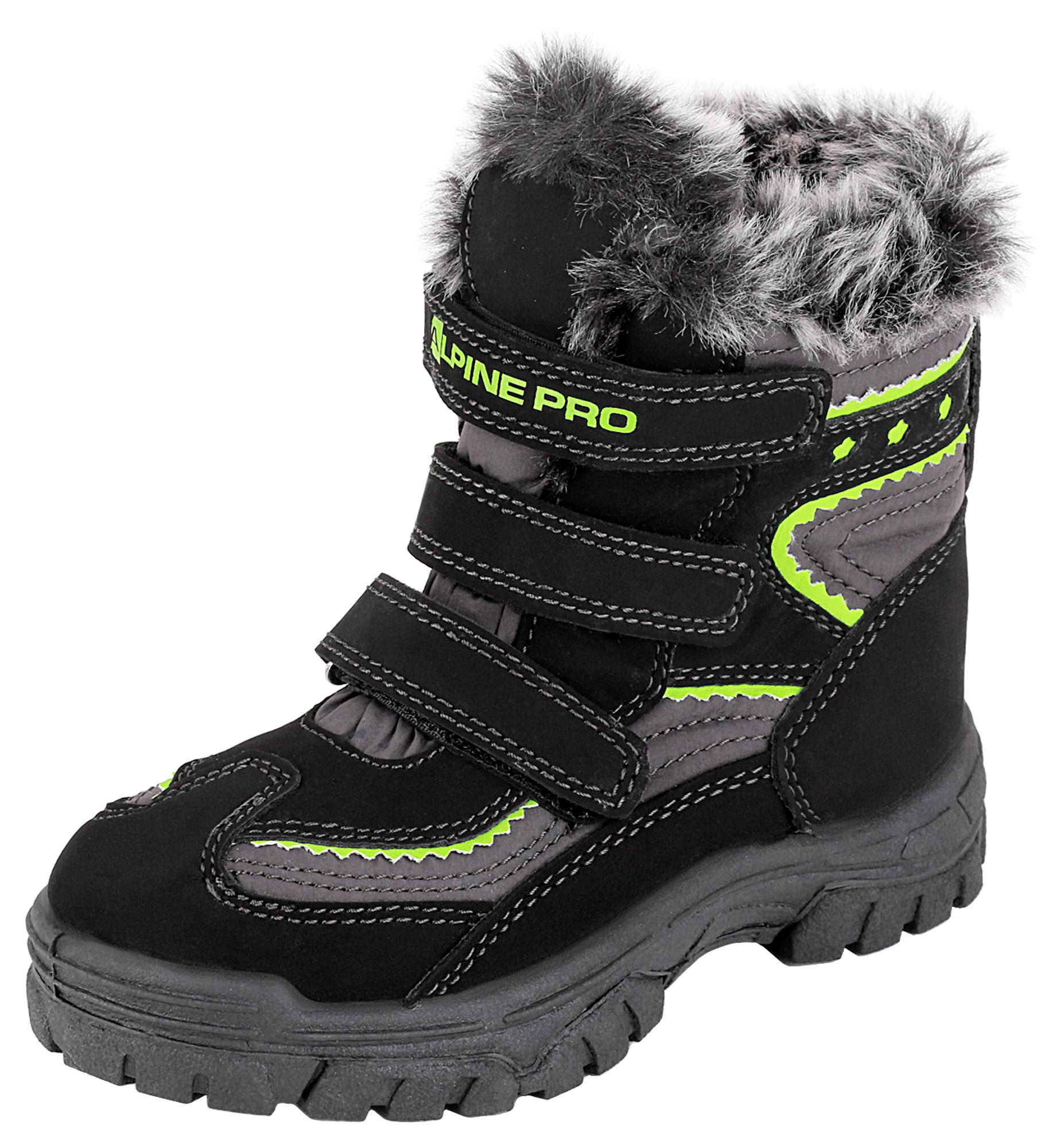ALPINE PRO Detská zimná obuv Flea - žlto-čierne 2a03b2e16b8
