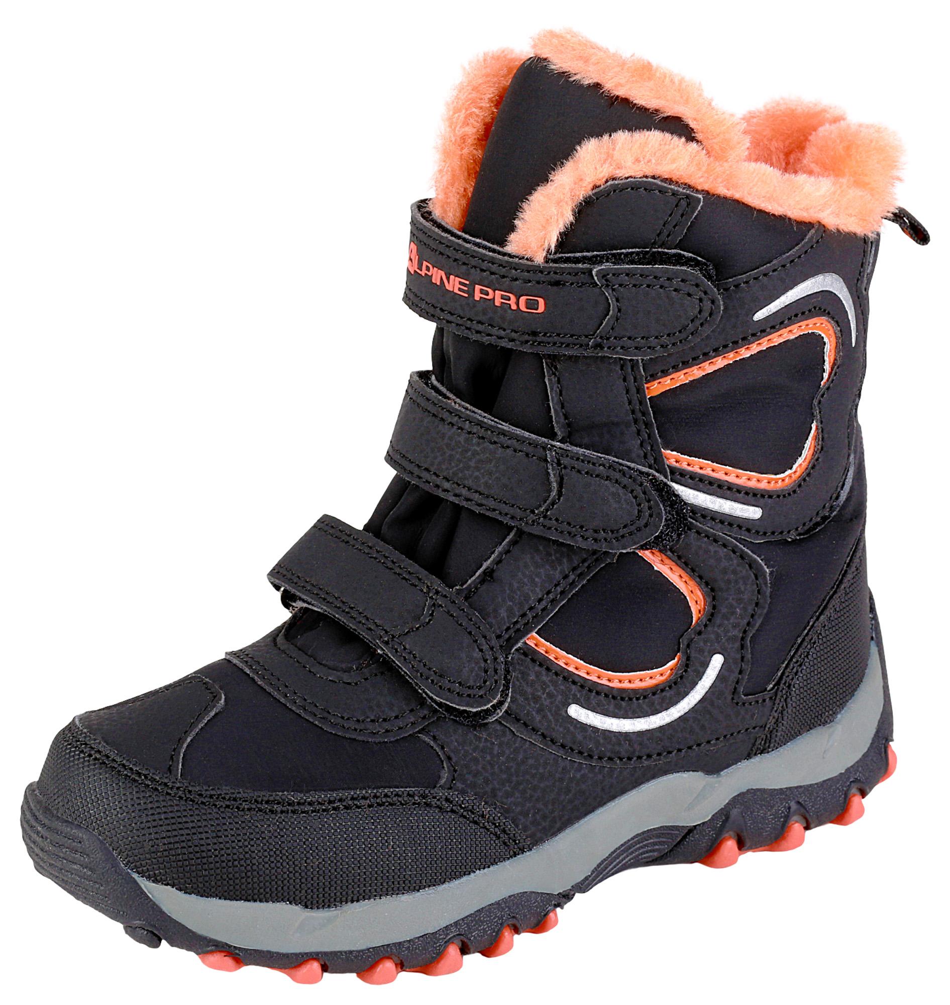 62e89bb83819 ALPINE PRO Detská zimná obuv Lilian - oranžovo-čierna