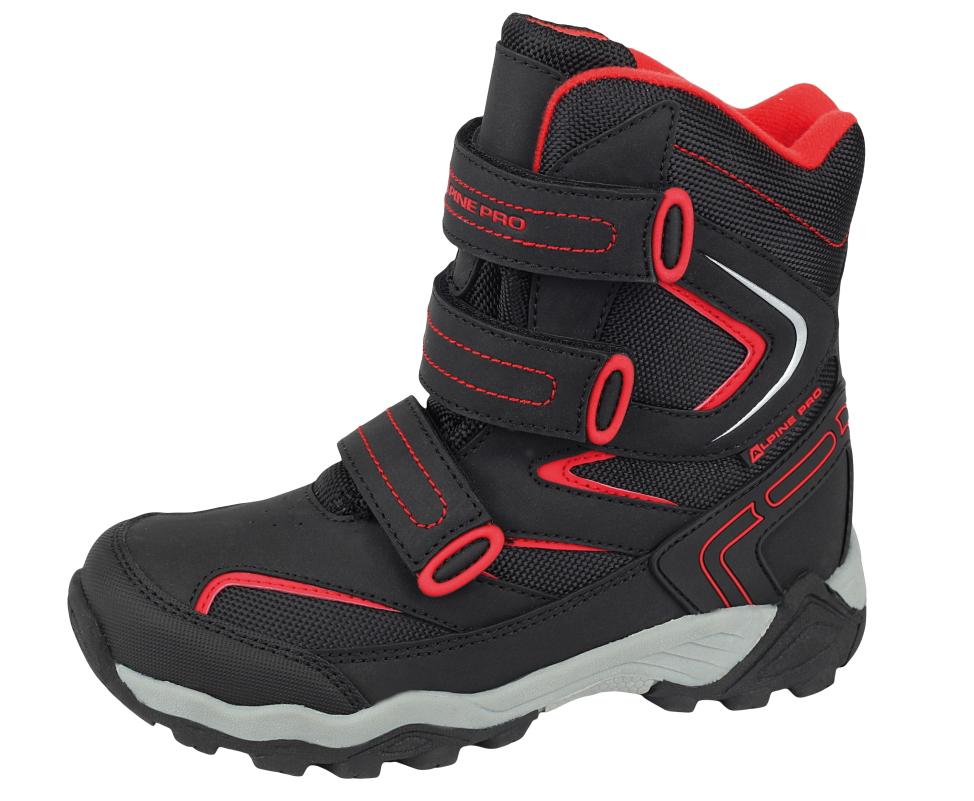 2d4e9a9bb8e3 ALPINE PRO Detské vysoké zimné topánky Dairo - čierno-červené