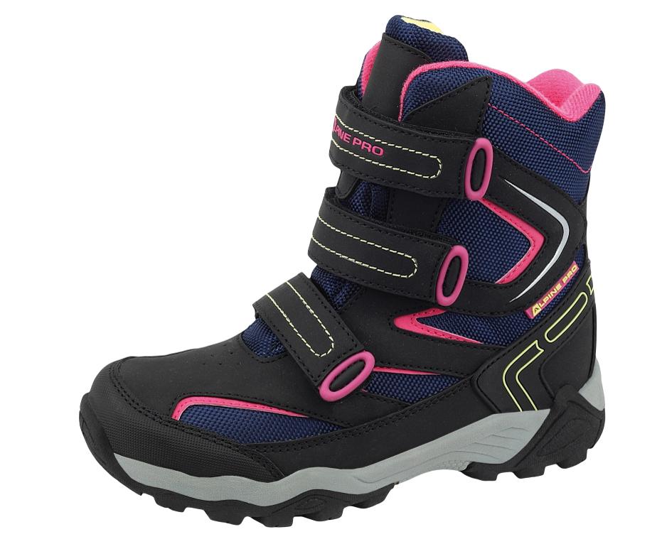 c868044f63 ALPINE PRO Dievčenské vysoké zimné topánky Dairo - modro-ružové