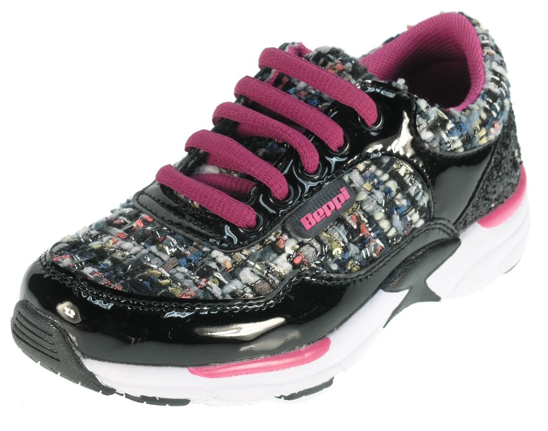c320ee799f Beppi Dievčenské lesklé tenisky - ružovo-čierne