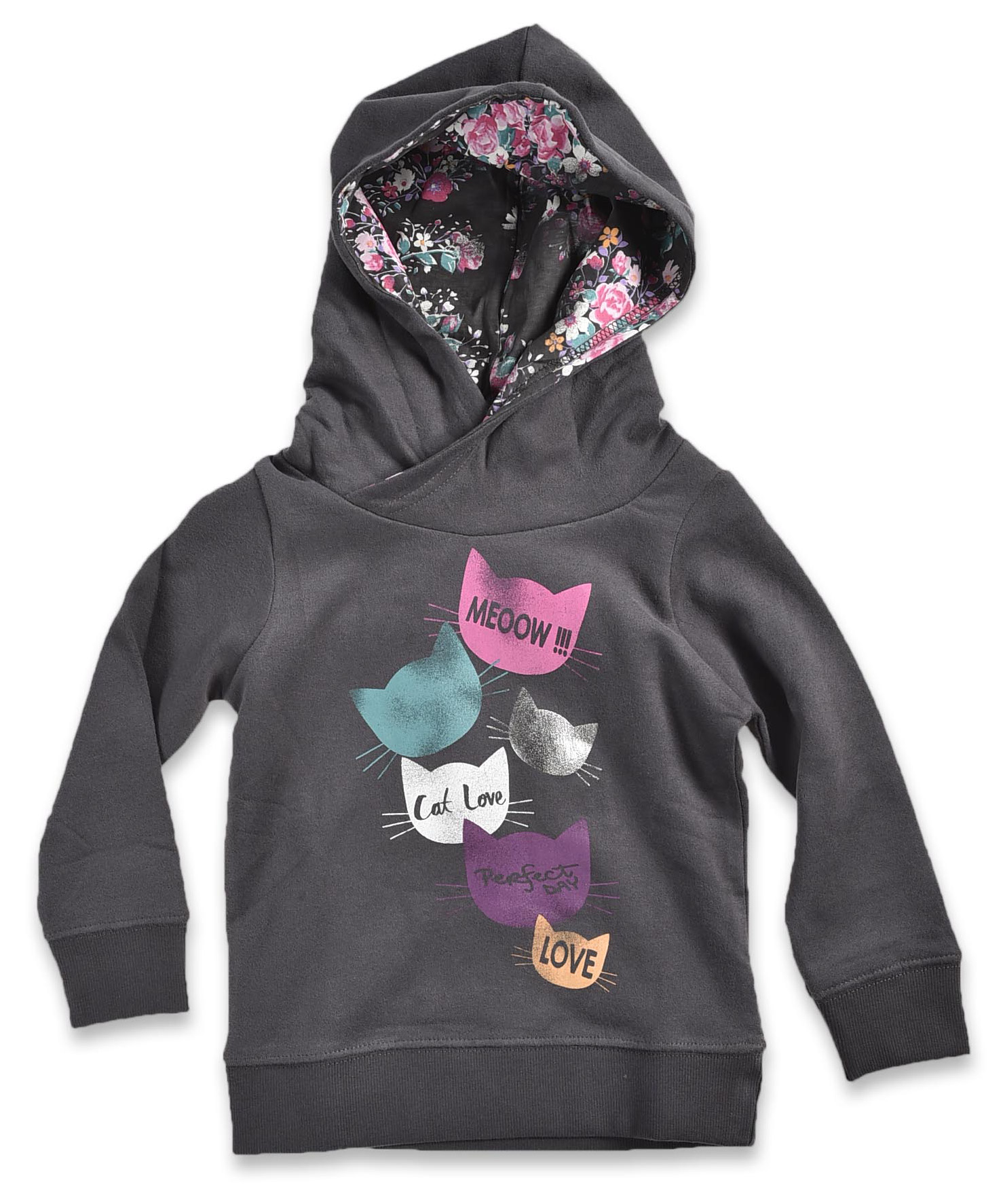 Blue Seven Dievčenská mikina Meow s kapucňou - čierna 641713ee898