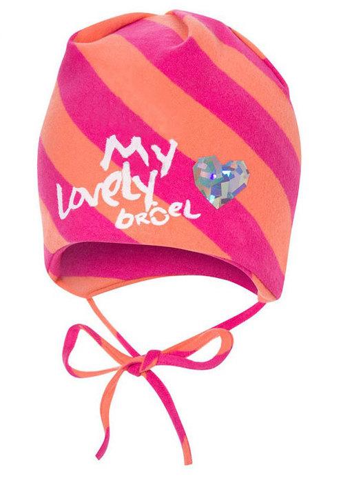 a2f8155ad Broel Dievčenská pruhovaná čiapka so srdiečkom - ružovo-oranžová ...