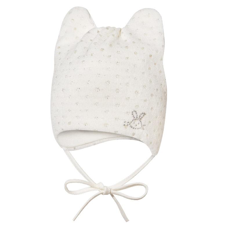 a5a621d60 Broel Dievčenské čiapka s uškami a na zaväzovanie - biela, 49 cm ...