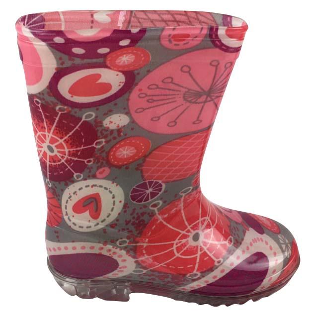 Bugga Dievčenské čižmy so srdiečkami - šedo-ružové 9c1395afb38