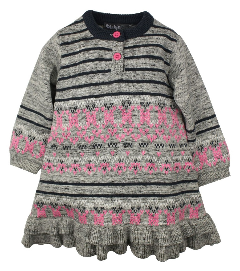 918abf59cf3c Dirkje Dievčenské pletené šaty - šedo-ružové