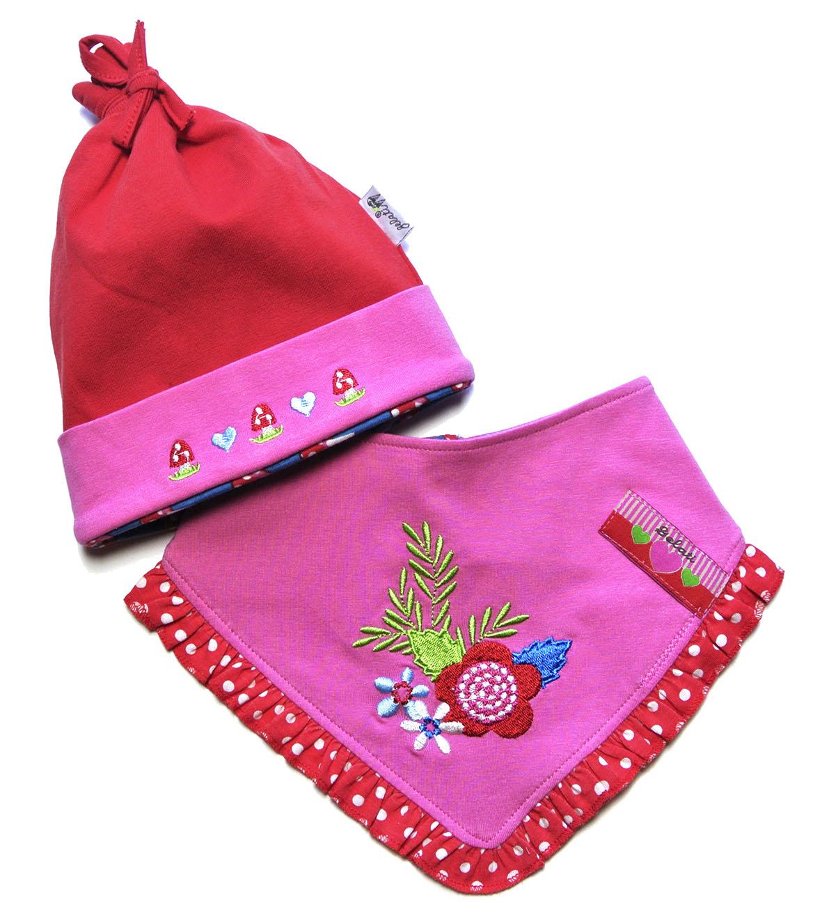 67028e3e5 Gelati Dievčenská súprava čiapky a šatky - ružovo-červený, 86 cm ...