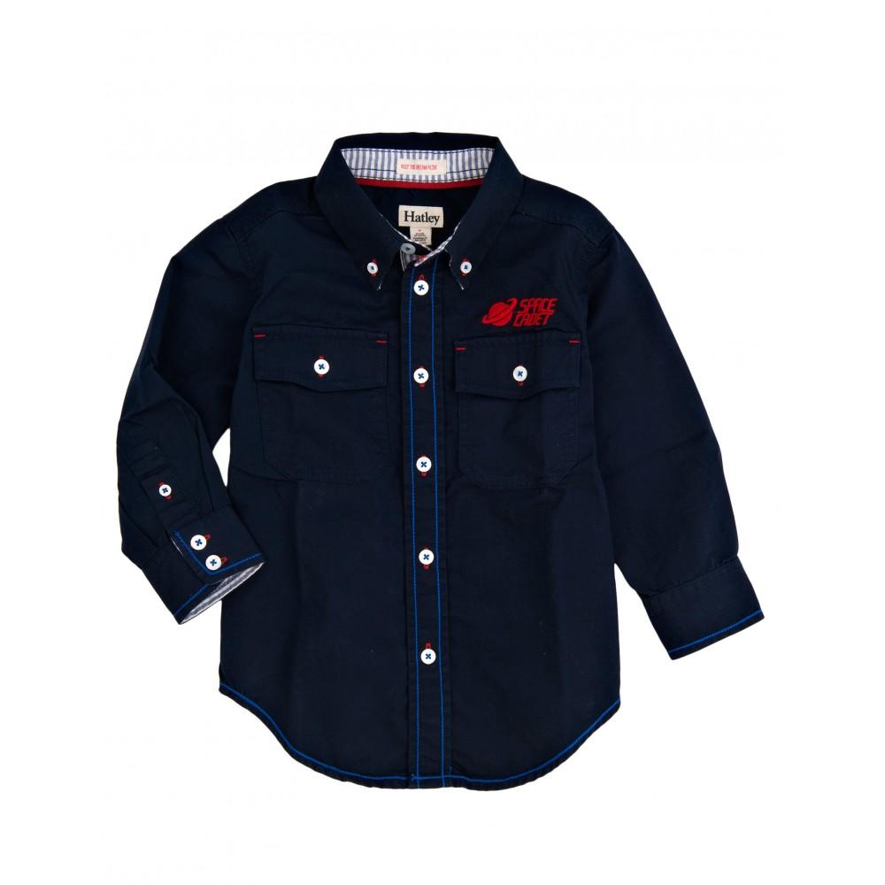 70d5cd39b9be Hatley Chlapčenská košeľa Space Cadet - tmavo modrá