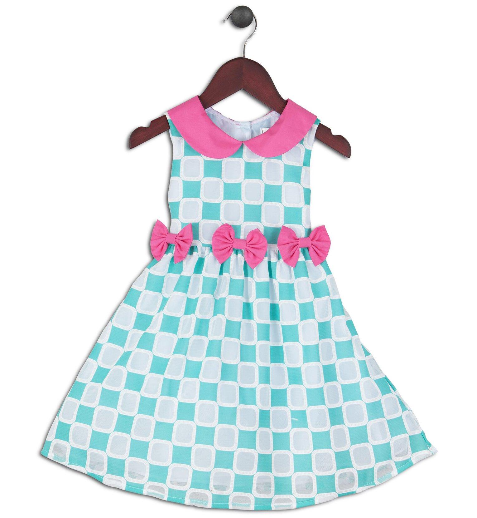 Joe and Ella Fashion Dievčenské šaty Cynthia - zeleno-ružové 5d416ff3f0e