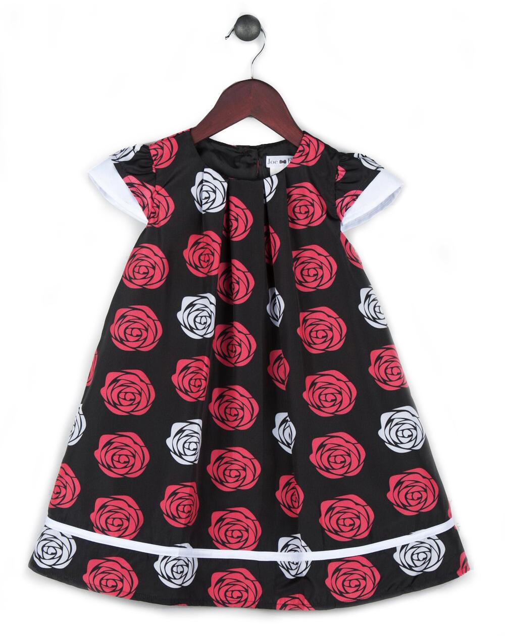3bdaba0284a2 Joe and Ella Fashion Dievčenské šaty Lisa s ružičkami - čierno-červeno-biele