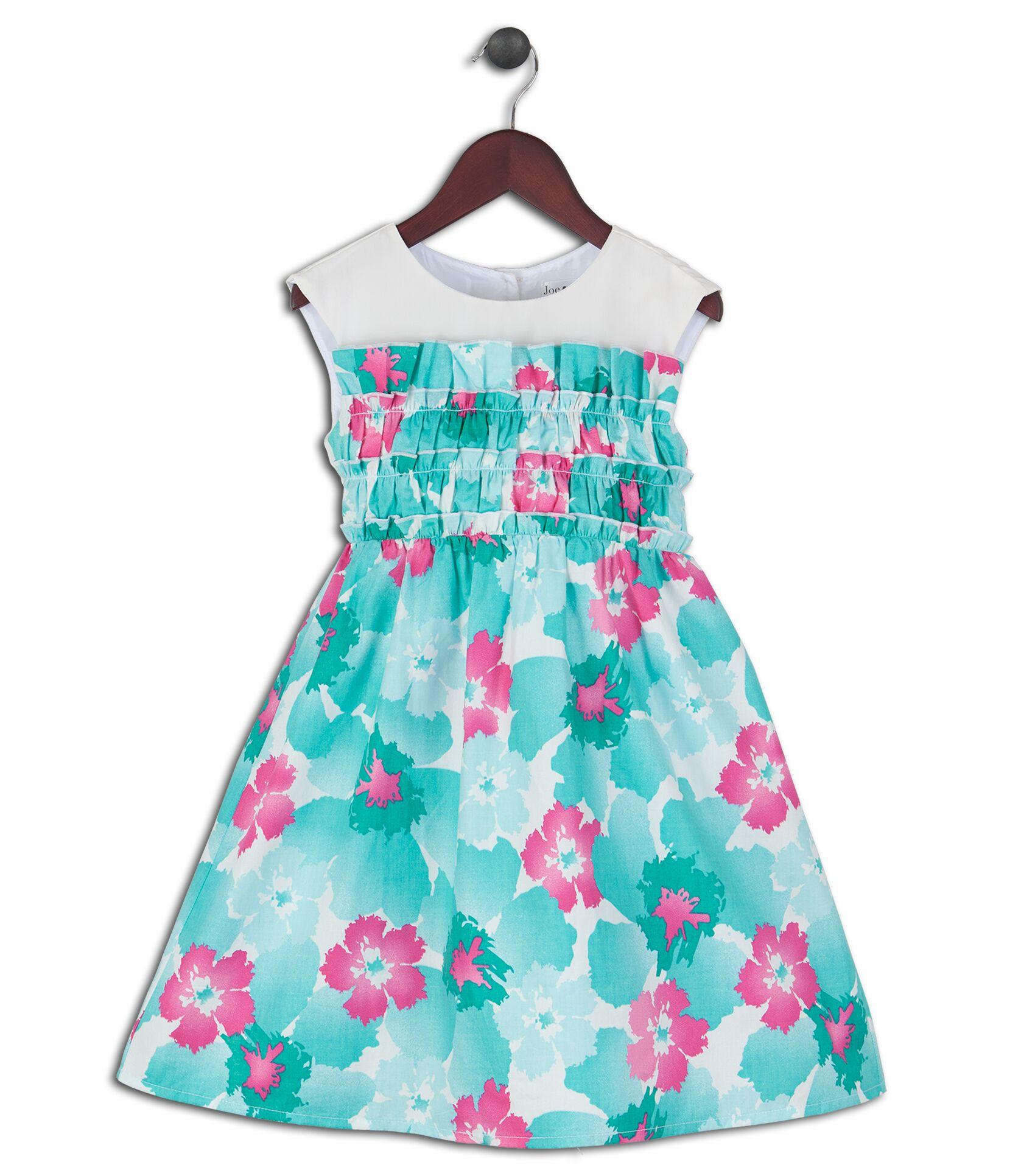 Joe and Ella Fashion Dievčenské šaty Mattia kvetinové - zeleno-ružovo-biele 2cf11e02efb