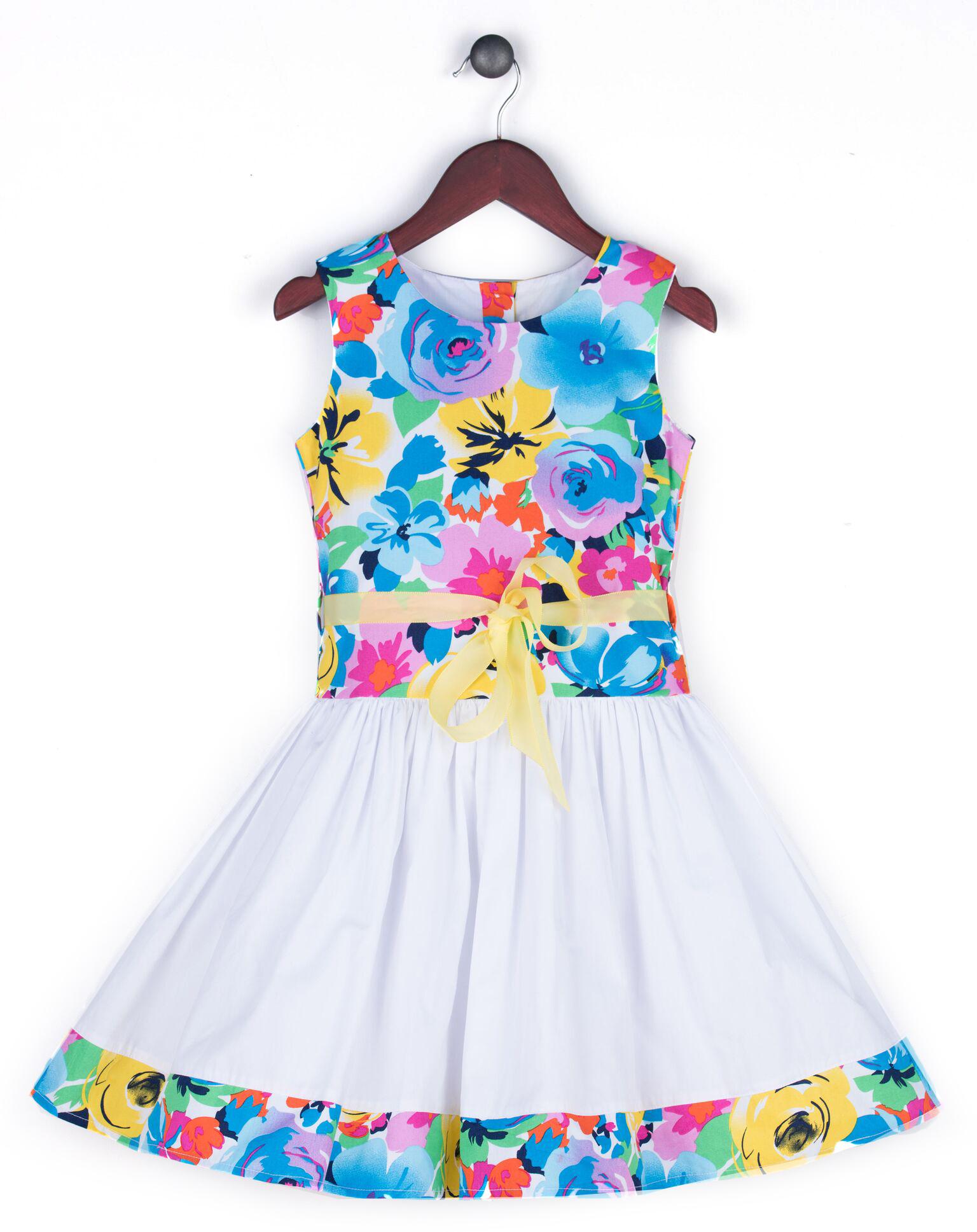 Joe and Ella Fashion Dievčenské šaty Miley kvetované - modro-biele ... eddc5572f65